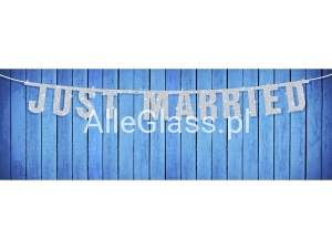 Baner Just Married Srebrny 18 x 170 cm.