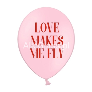 Balony 30cm Love makes me fly pastel baby pink